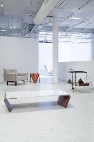 Romana coffee table, Ina armchair, Petalas side table and JZ tea trolley by Jorge Zalszupin