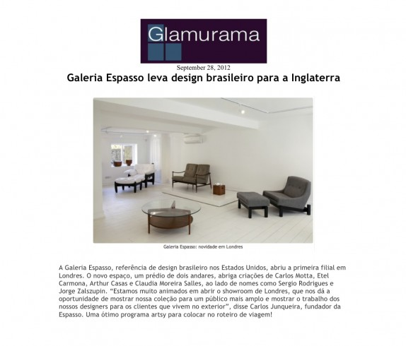 Glamurama feature on the launch of ESPASSO's showroom in London