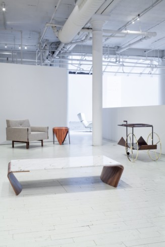 Romana coffee table, Ina armchair, Petalas side table and JZ tea trolley by Jorge Zalszupin